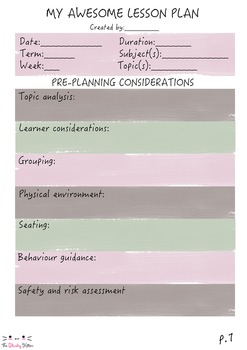 Neutral Colour Blocks Lesson Plan Templates