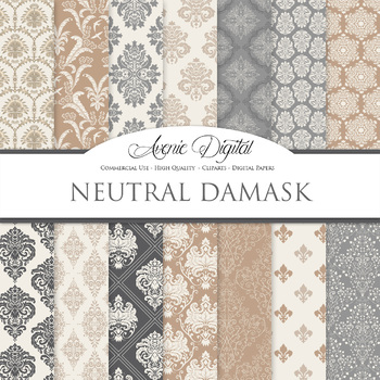 Neutral Damask Digital Paper patterns - ornate brown wedding floral backgrounds