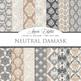 28 Neutral Damask Digital Paper patterns ornate brown wedding floral backgrounds