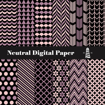 Neutral Digital Paper Pack, Triangles, Stripes, Quaterfoil Pattern, 12 JPG Files