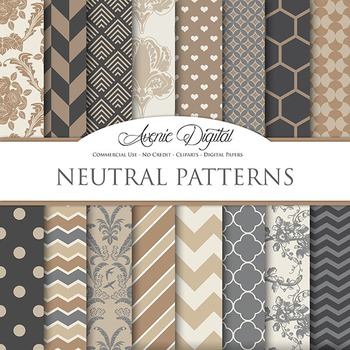 Neutral Digital Paper brown muted colors earth tones scrapbook background