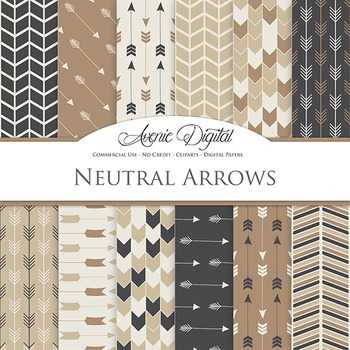 Neutral Digital Paper patterns tribal arrows brown, beige, scrapbook background