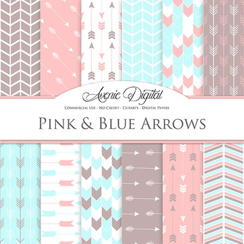 Pink and Digital Paper patterns tribal arrows pastel scrapbook background