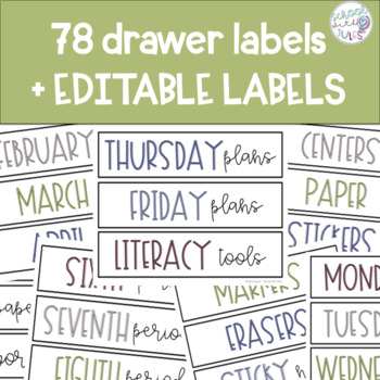 Neutral Drawer Labels - editable