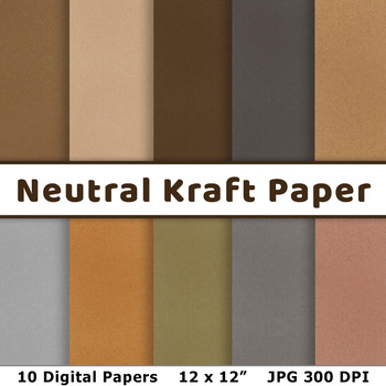 Neutral Kraft Digital Paper, Earth Colors Scrapbook Paper, Old Paper Background