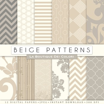 Neutral Patterns Digital Paper, scrapbook backgrounds