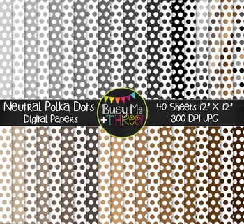 Neutral Polka Dots Digital Papers {Commercial Use Digital Graphics}