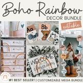 Modern BOHO RAINBOW Classroom Decor Bundle | Neutral Rainb