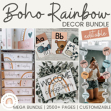 Boho Rainbow Classroom Decor Bundle | Neutral Modern Rainb