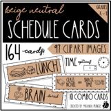 Neutral Schedule Cards in Beige