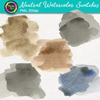 Neutral Watercolor Swatches Clip Art {Hand-Painted Textures for Backgrounds}