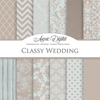 Neutral Wedding Digital Paper patterns - bridal brown, blue gray backgrounds
