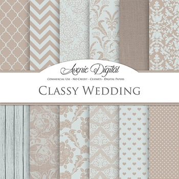 Neutral Wedding Digital Paper patterns - bridal brown, blu