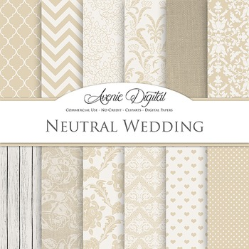 Neutral Wedding Digital Paper patterns - tan brown save the date backgrounds