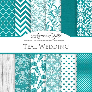 Teal Wedding Digital Paper patterns - blue save the date backgrounds