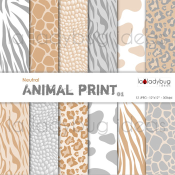 Neutral animal print and dots patterns digital papers. Backgrounds.