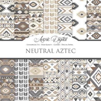 Neutral aztec Digital Paper arrows tribal brown patterns scrapbook background