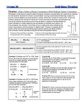Neutralization Reactions, Titration, Electrolytes -  Guided Study Notes for Chem