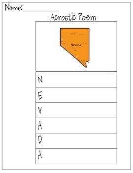 Nevada Acrostic Poem