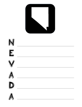 Nevada State Acrostic Poem Template, Project, Activity, Worksheet