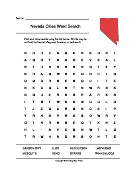 Nevada Cities Word Search (Grades 3-5)
