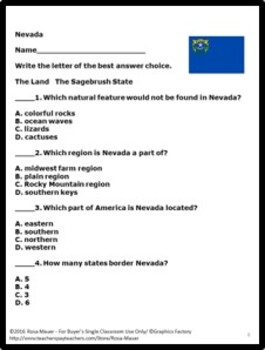 Nevada Hello USA Task Cards