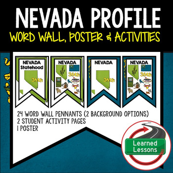 Nevada History Word Wall, State Profile, Activity Pages