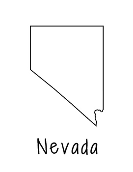 Nevada Map Coloring Page Craft - Lots of Room for Note-Taking & Creativity