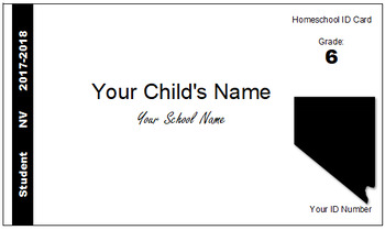 Nevada (NV) Homeschool ID Cards for Teachers and Students