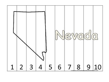 Nevada Number Sequence Puzzle.  Learn the States preschool printable game.