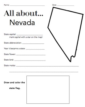 Nevada State Facts Worksheet: Elementary Version
