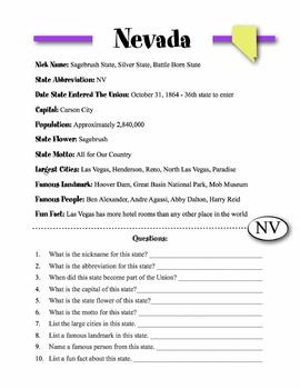 Nevada State Information & Worksheet