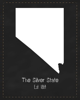 Nevada State Map Class Decor, Government, Geography, Black and White Design