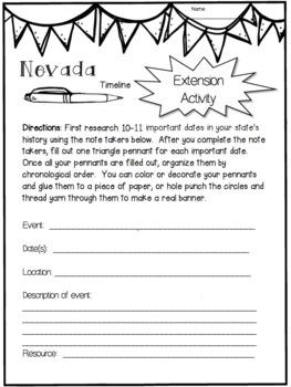 Nevada State Research Report Project Template + bonus timeline Craftivity NV