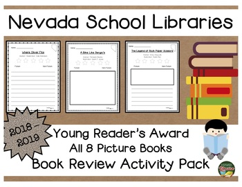Nevada Young Reader's Book Award 18 - 19  Book Review Activity Pack