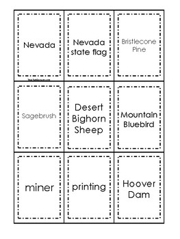 Nevada themed Memory Matching and Word Matching preschool curriculum game