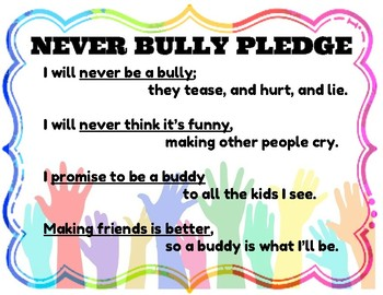 Never Bully Pledge - Anti-Bully Resource