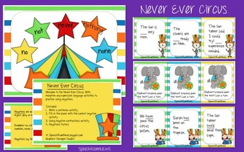 Never Ever Circus: Negatives grammar activities