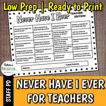 Never Have I Ever for Teachers - Great Icebreaker for PD & Faculty Meetings