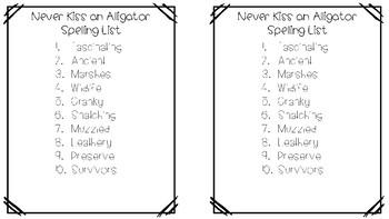 Never Kiss an Alligator Spelling List