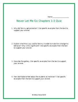 Never Let Me Go Chapters 1-3 Quiz