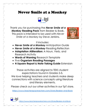 Never Smile at a Monkey: Adaptaions Reading Pack