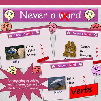 'Never a Crossed Word' (Verbs) - Speaking and Listening game