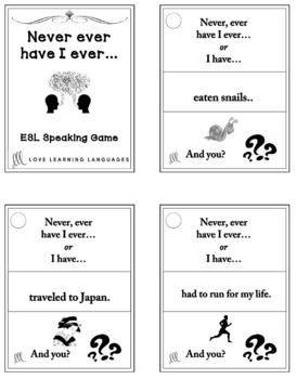 Never, ever have I ever - ESL - ELL speaking activity