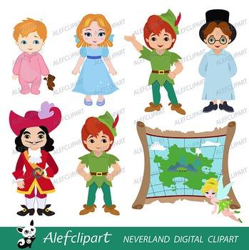 Neverland Digital Clipart, Peter Pan Clipart