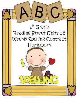 Reading Street 1st Grade Differentiated Spelling Homework Units 1-5 (Editable)