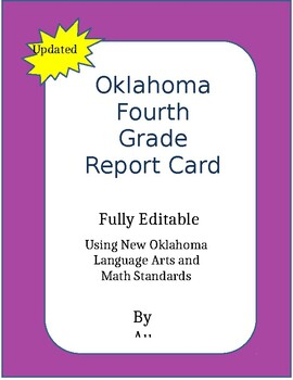 2018-2019  Oklahoma 4th Grade Report Card, Fully editable Single License
