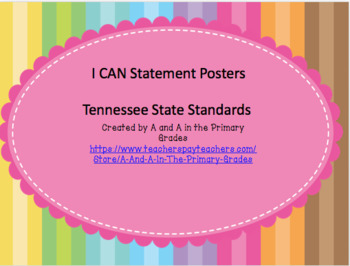 New 2017 Tennessee State Standards with I CAN Statement Posters