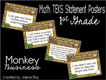 "1st Grade ""I Can"" TEKS Poster Bundle: MONKEY BUSINESS"
