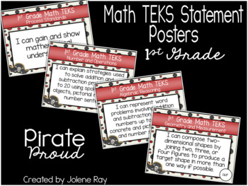 """1st Grade """"I Can"""" TEKS Statement Posters: PIRATE PROUD"""